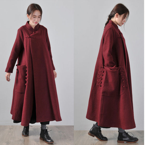 Women 's Woolen Winter cape coat - Buykud