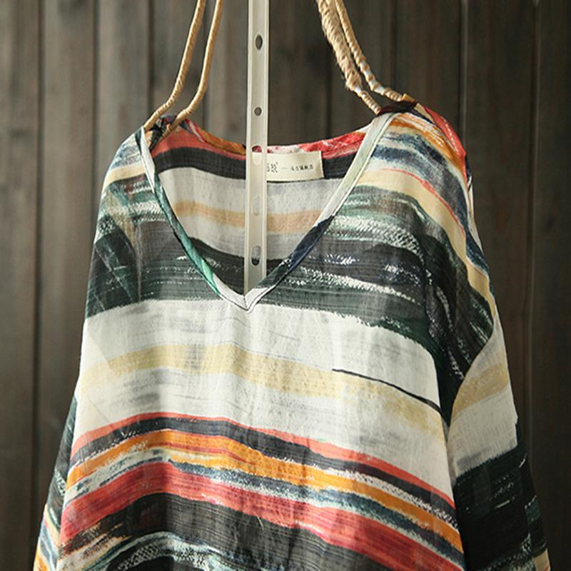 Plus Size - Cotton Retro Striped Long Sleeve T-shirt
