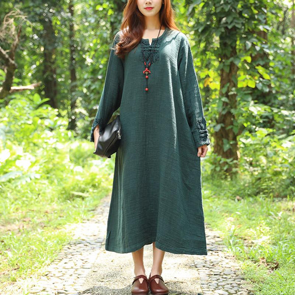 Cotton Linen Autumn Loose Women Long Sleeve Green Dress
