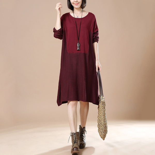 Autumn Retro Female Long Sleeve Round Neck Casual Loose Pullover Dress
