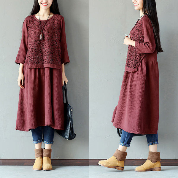Women Spring Cotton Hollow Wine Red Dress