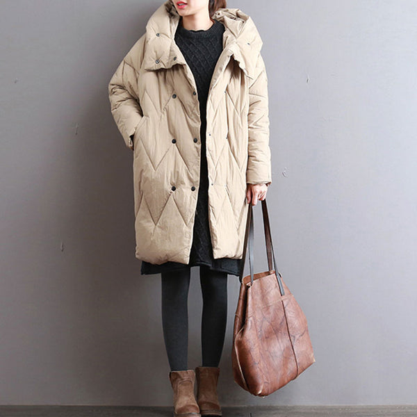 Women Autumn Winter Hooded Double Breasted Long Sleeve Coat - Buykud