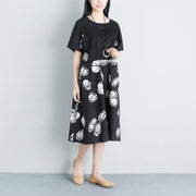 Casual Pockets Summer Short Sleeve Black Dress