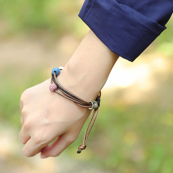 Women Dainty Round Beads Leather Chain Bracelet