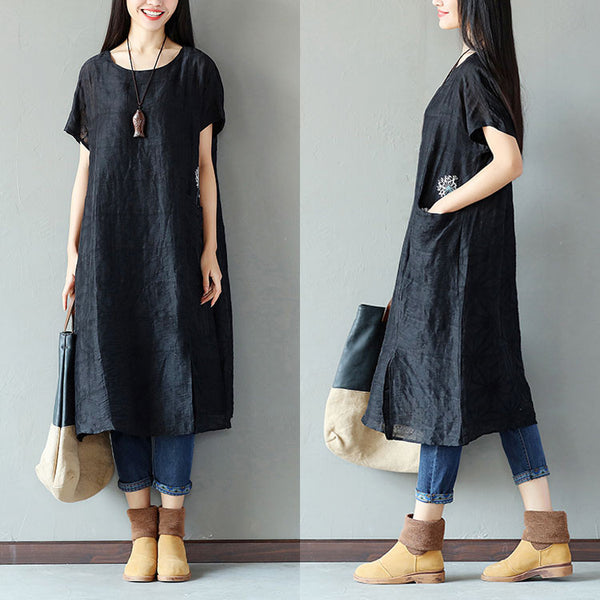 Embroidered Cotton Splitting Linen Women Loose Black Dress