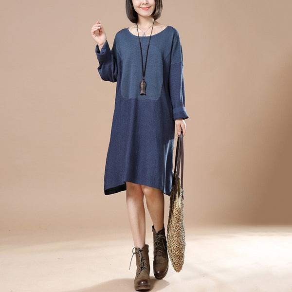 Autumn Blue Retro Female Long Sleeve Round Neck Casual Loose Pullover Dress