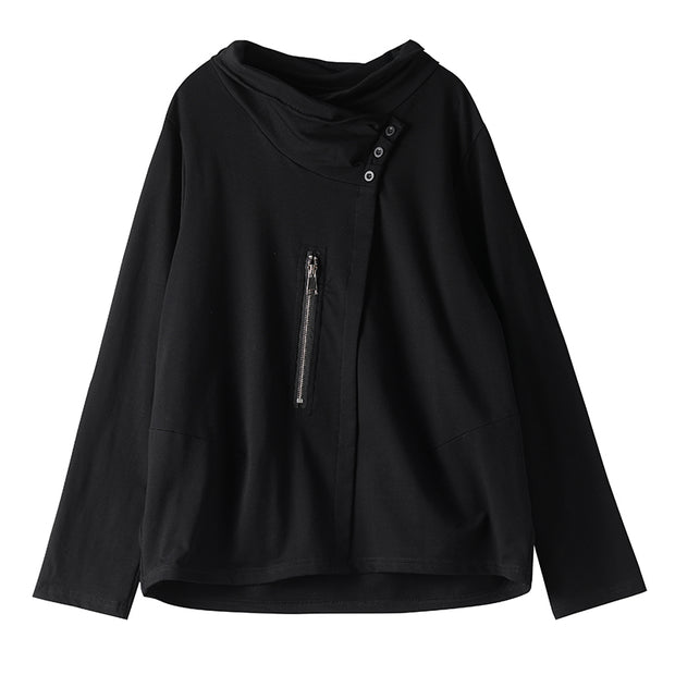 Buykud Solid Color Casual Zipper Long Sleeve Blouse