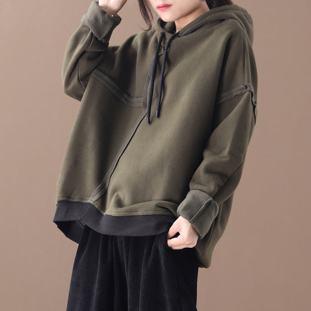Buykud Pure Color Drawstring Plus Velvet Hoodie