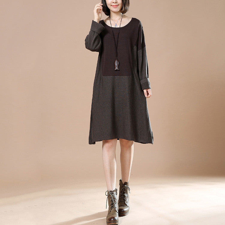 Autumn Dark Brown Retro Female Long Sleeve Round Neck Casual Loose Pullover Dress