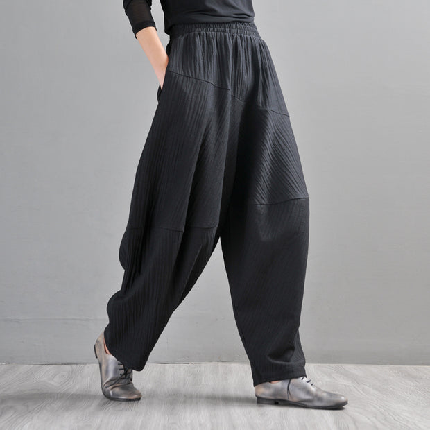 Buykud Casual Loose Comfortable Texture Harem Pants