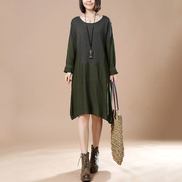 Autumn Green Retro Female Long Sleeve Round Neck Casual Loose Pullover Dress