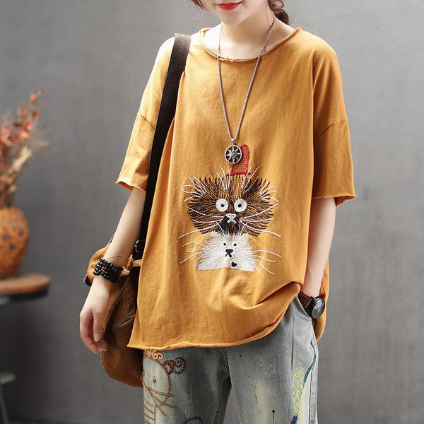 Cute Embroidery Half Sleeve Women T-Shirt