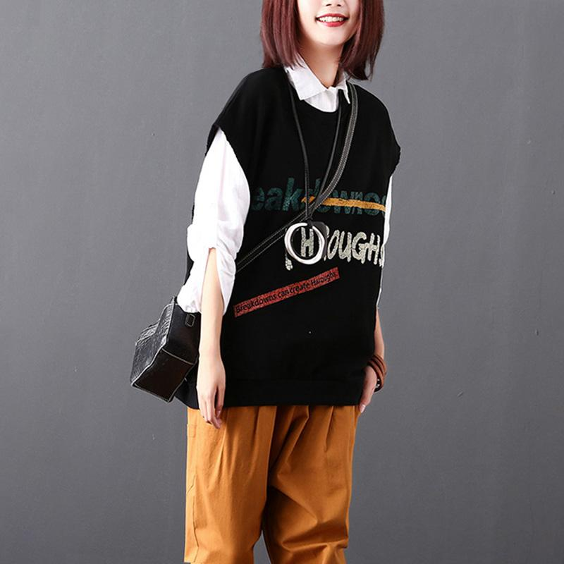 Cartoon Letter Print Sleeveless O-neck Top