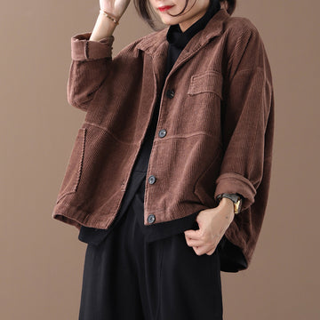 Buykud Autumn Solid Color Loose Corduroy Jacket