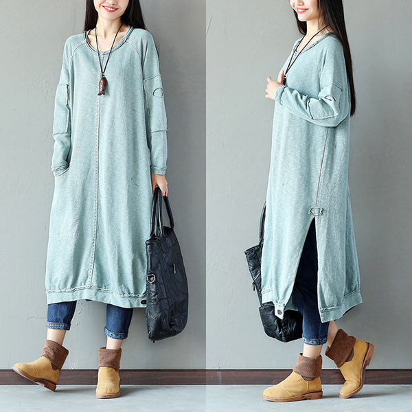 Women Casual Pocket Slit Splicing Cotton Linen Gray Blue Shirt