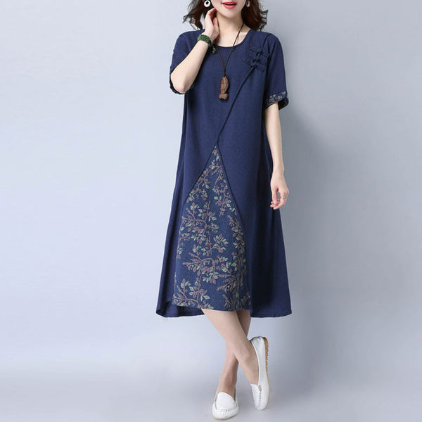 Casual Printing Women Short Sleeves Navy Blue Dress - Buykud