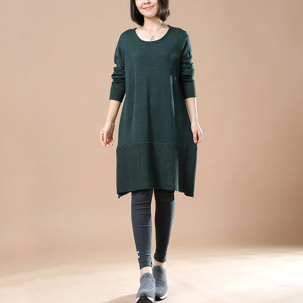 Women Green Autumn Long Sleeve Retro Casual Sweater Dress