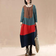 Cotton linen autumn long dress