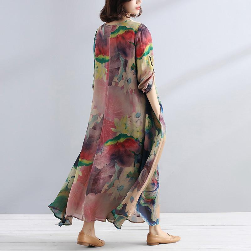 Plus Size - Charming Women Casual Loose Floral Long Sleeve Dress