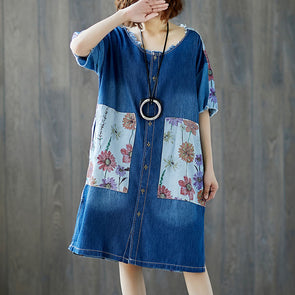 Women Denim Summer Short Sleeve Flower Casual Dress