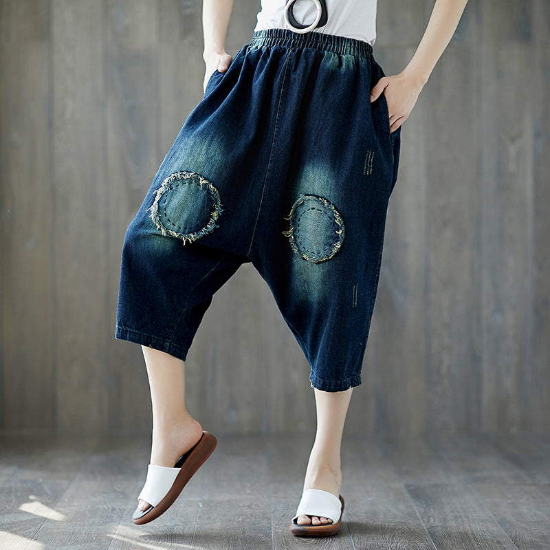 Summer Dark Blue Casual Denim Loose Dropped Crotch Pants