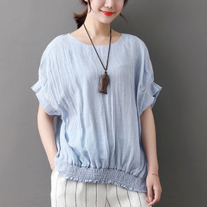 Casual Summer Women Short Sleeve Lacing Blue T-shirt - Buykud