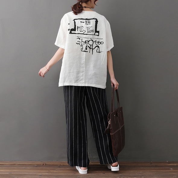 Casual Summer Printed Short Sleeve White T-shirt - Buykud