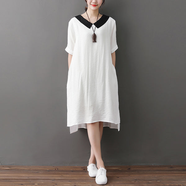 Women Short Sleeve Irregular White Polyester Cotton Dress - Buykud