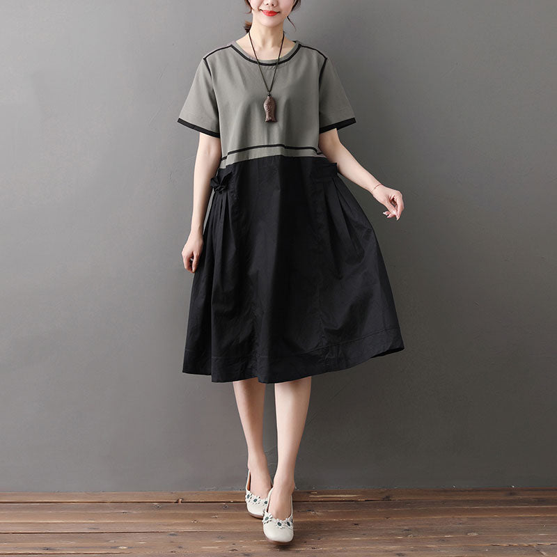 Loose Round Neck Short Sleeve Splicing Dress - Buykud