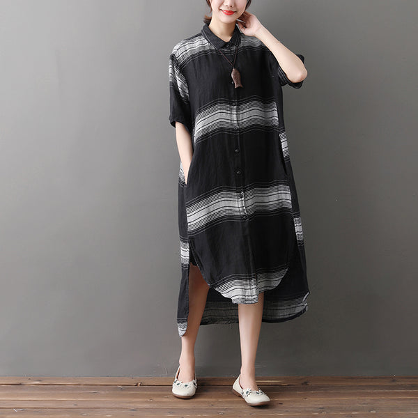 Loose Stripe Single Breasted Short Sleeve Black Linen Dress - Buykud
