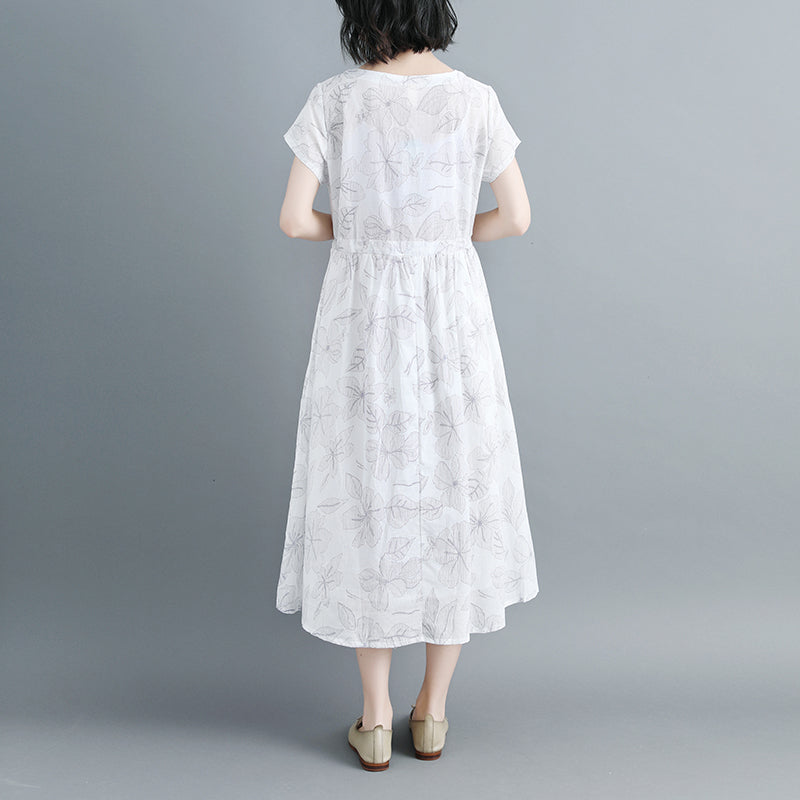 Women Short Sleeve Printed Lacing White Dress - Buykud