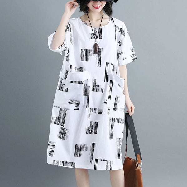 Women Short Sleeve Printed White Pockets Dress