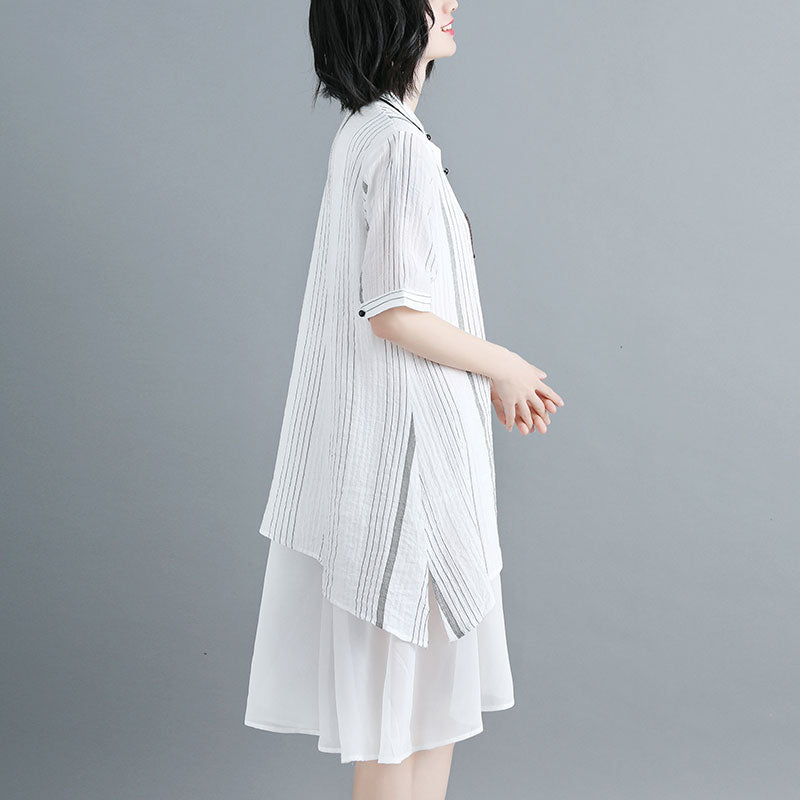 Women Stand Collar Single Breasted Stripe White Dress - Buykud