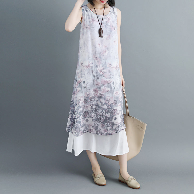 Women Sleeveless Printed Patchwork Pullovers Dress - Buykud