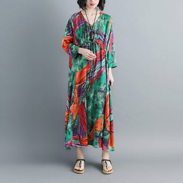 Women Three Quarter Sleeve Printed V Neck Pleated Dress - Buykud