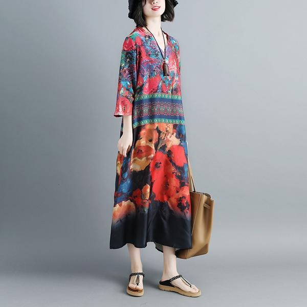 Women Summer V Neck Printed 1/2 Sleeve Dress