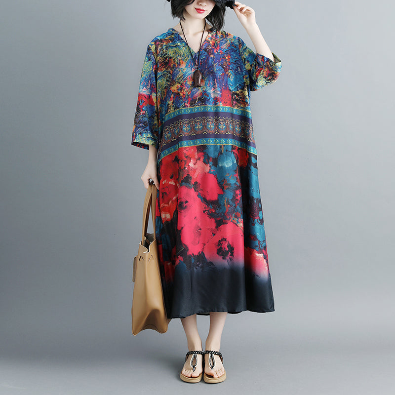 Women Summer V Neck Printed 1/2 Sleeve Dress - Buykud