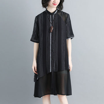 Women Stand Collar Single Breasted Stripe Black Dress - Buykud