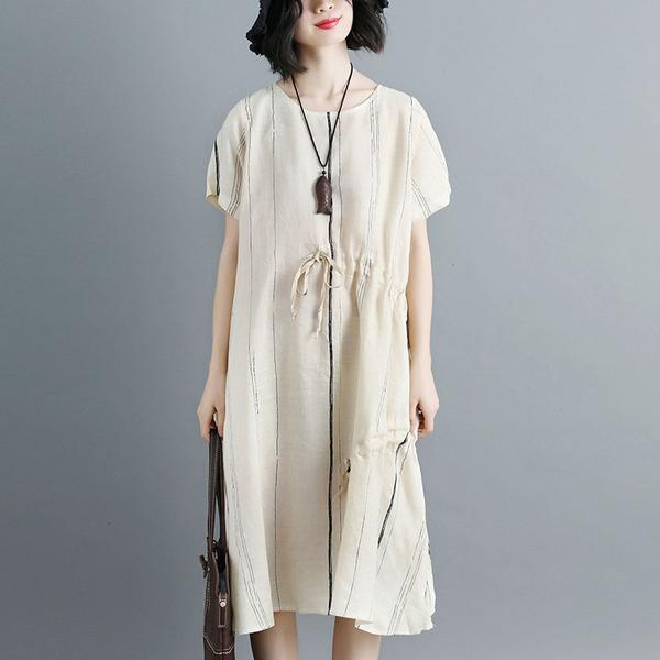 Women Short Sleeve Stripe White Drawstring Dress