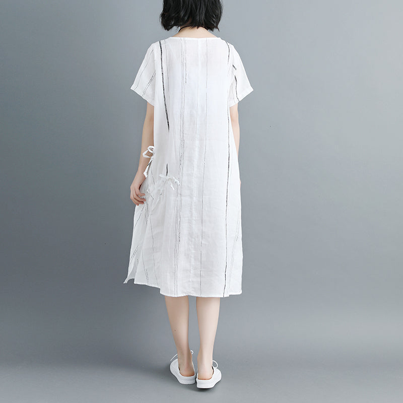Women Short Sleeve Stripe White Drawstring Dress - Buykud