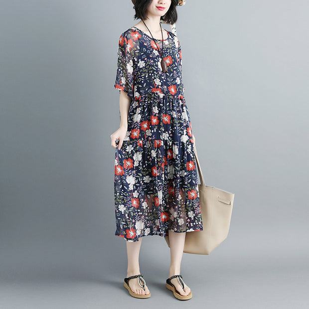 Women 1/2 Sleeve Floral Printed Pleated Two-Piece Set Dress