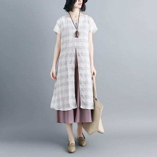 Women Short Sleeve Plaid Two-Piece Set - Buykud