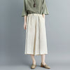 Women Linen Stripe Beige Wide Leg Pants
