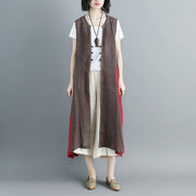 Women Sleeveless Lacing Irregular Long Coat