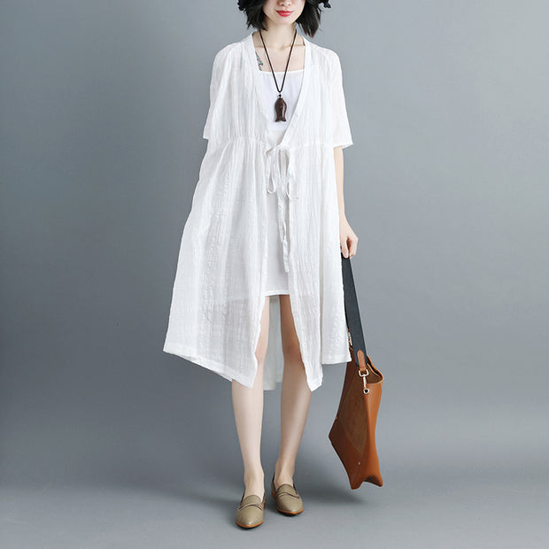 Women Short Sleeve White V Neck Lacing Cardigan - Buykud