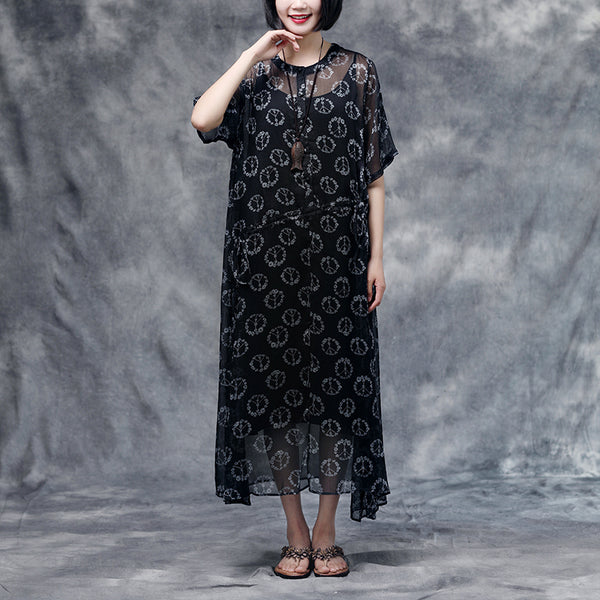 Summer Floral Short Sleeve Black Casual Two-piece Dress