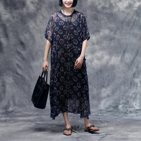 Summer Floral Short Sleeve Casual Two-piece Dress