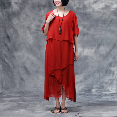 Summer Short Sleeve Red Casual Dress