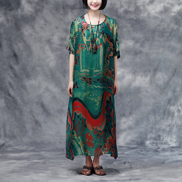 Summer Short Sleeve Green Floral Casual Long Dress