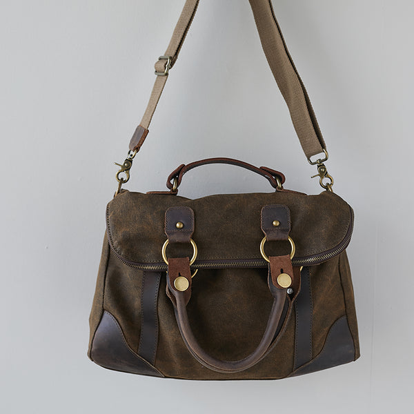 Canvas Zipper Geometry Coffee Handbag Shoulder Bag